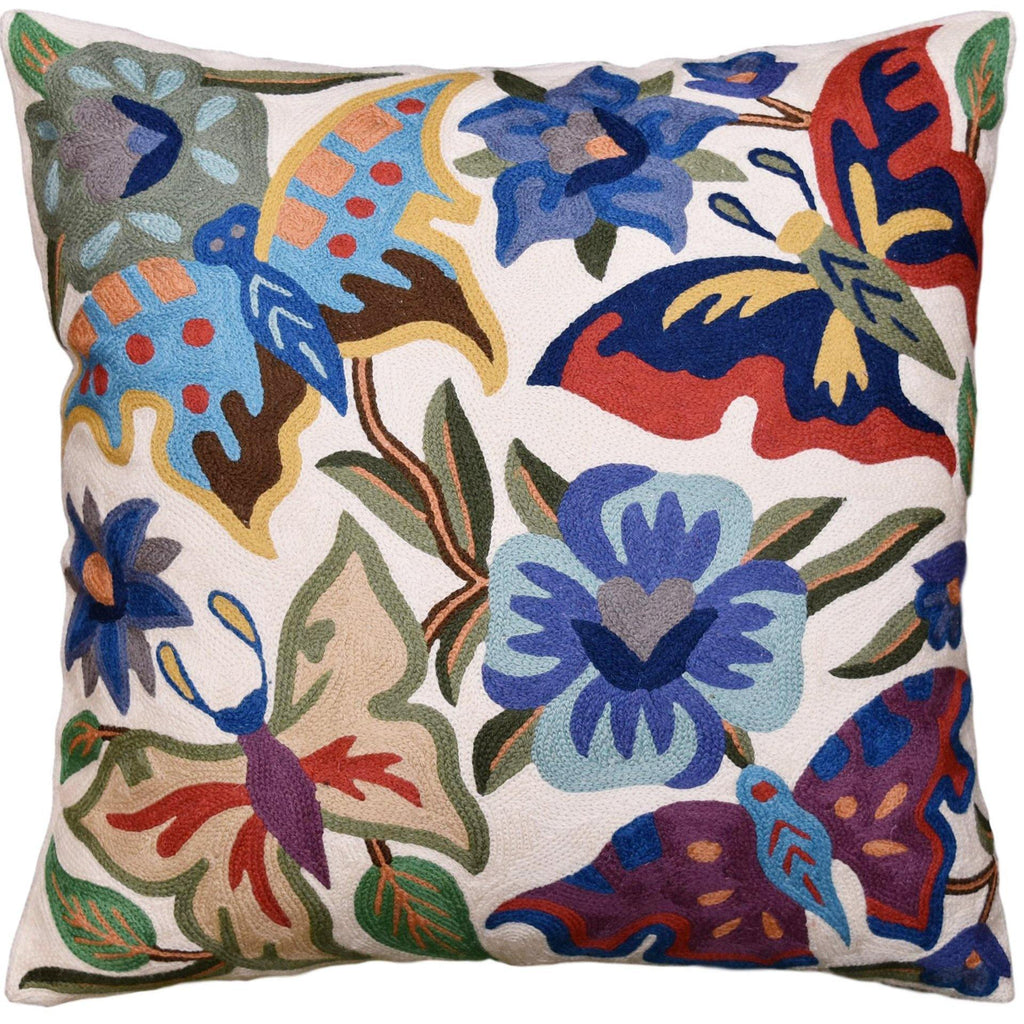 Kashmir Designs Suzani Butterfly Decorative Pillow Cover Floral Garden Hand Embroidered Wool 18x18