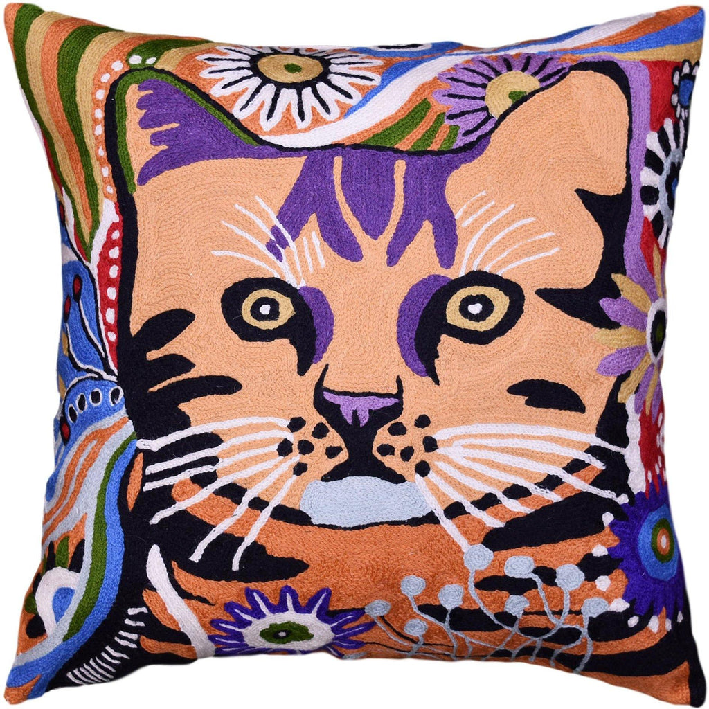 Colorful Cat Decorative Pillow Cover Whimsical Cats Handembroidered Wool 18x18