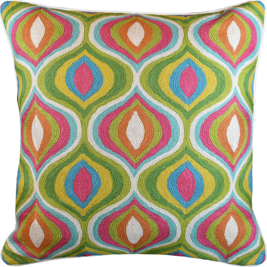 "Colorful Teardrop Waves Suzani Accent Pillow Cover Handembroidered Wool 20x20"" - KashmirDesigns"