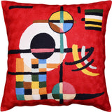 Red Kandinsky Decorative Pillow Cover Abstract Counterweights Hand Embroidered Wool 18x18