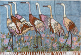 Cranes 2.5x4ft Handembroidered Decorative Wall Hanging Tapestry Rug Art Silk