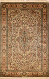 6'x4' Kashan Pure Silk Area Rug Carpet Ivory Signed Oriental Hand Knotted