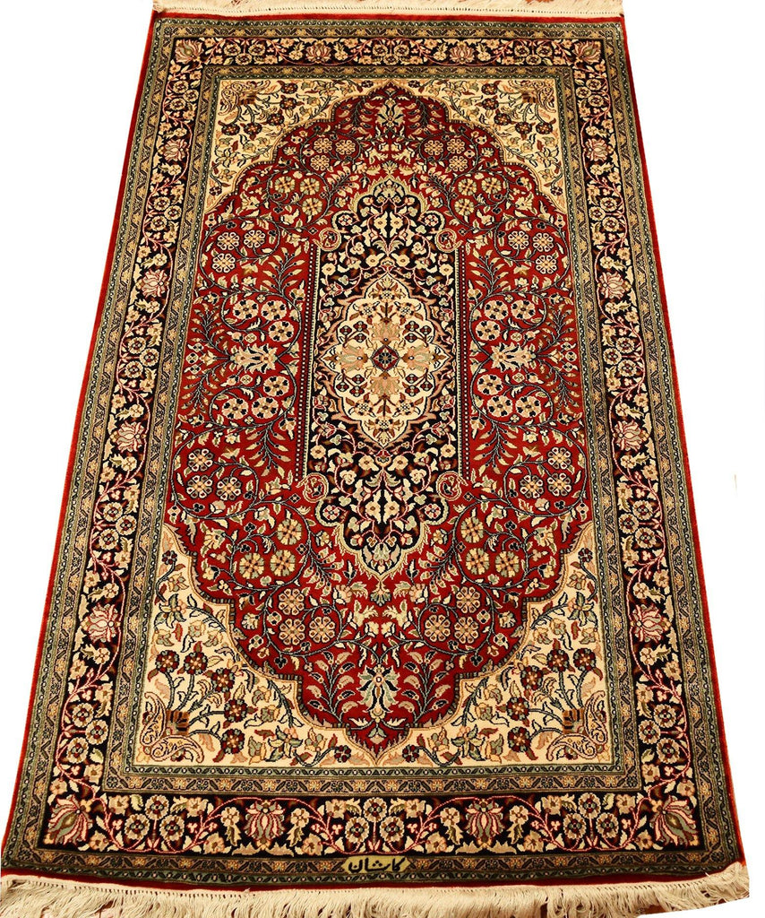 3'x5' Red Oriental Area Rug Pure Silk Carpet Medallion Design Museum Quality - KashmirDesigns