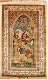 3'x5' Omar Khayyam Silk Rug Oriental Carpet Pictorial Wallhanging Hand Knotted