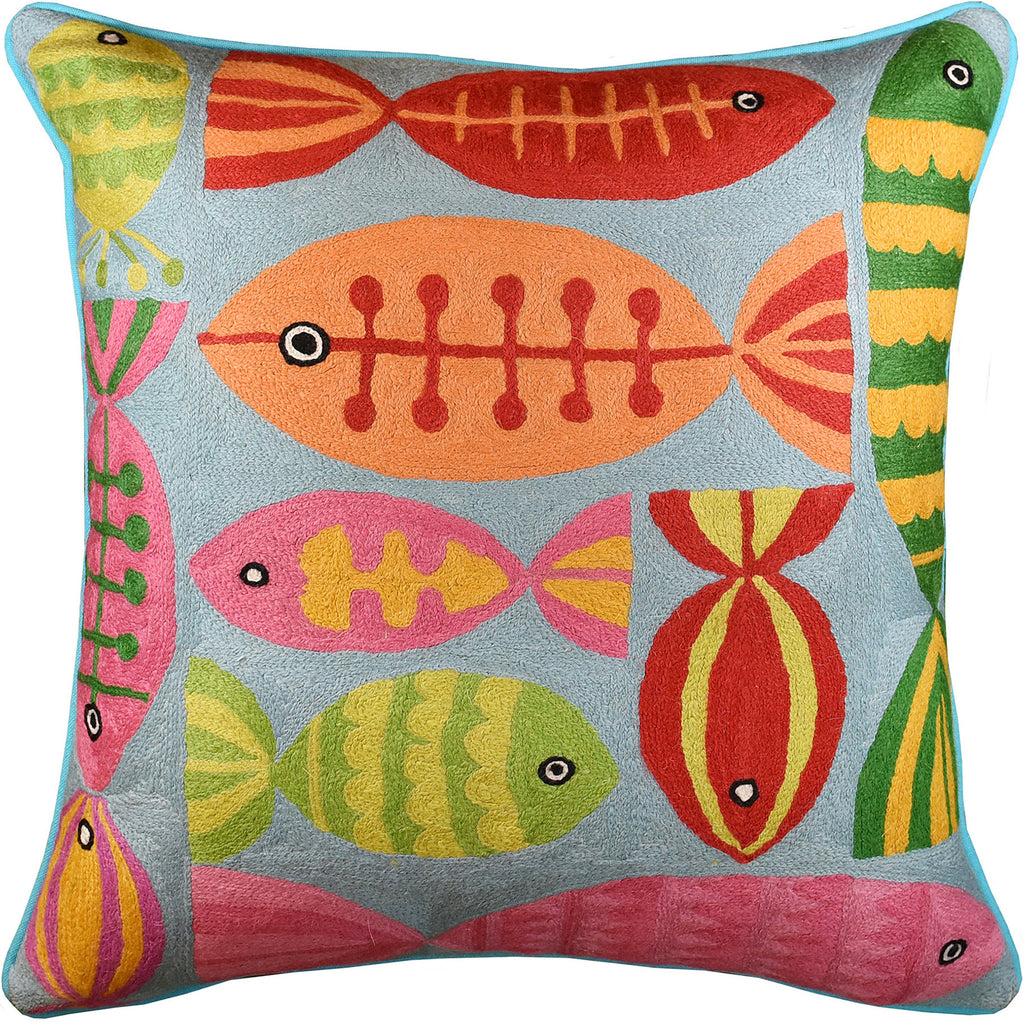 "Modern Fish Turquoise Suzani Decorative Pillow Cover Handembroidered Wool 20x20"" - KashmirDesigns"