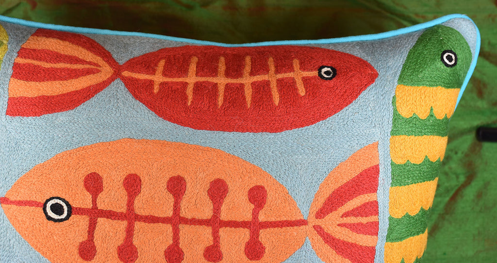 """Modern Fish Turquoise Suzani Decorative Pillow Cover Handembroidered Wool 20x20/"""""""