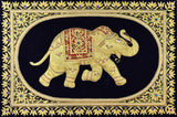Jewel 2ftx3ft Elephant Art Tapestry Wall Hanging Black Gold Zardozi Handmade