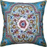 Floral Garden Pillow Cover Bright Turquoise Green Blue Hand Embroidered Wool 18x18