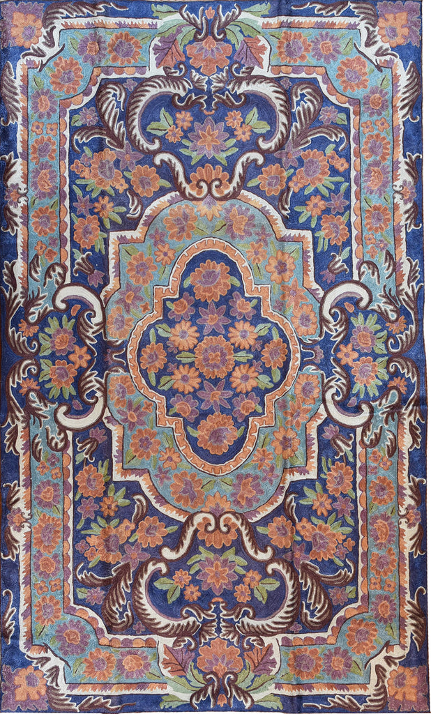 Floral 2.5x4ft Blue Art Deco Decorative Wall Hanging Tapestry Rug Art Silk - KashmirDesigns