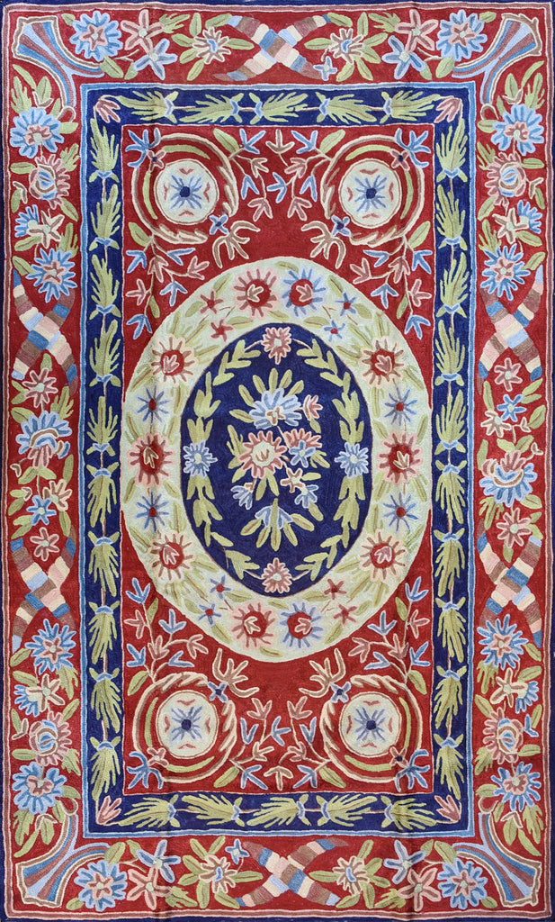 Floral 2.5x4ft Navy Red Handmade Decorative Wall Hanging Tapestry Rug Art Silk - KashmirDesigns