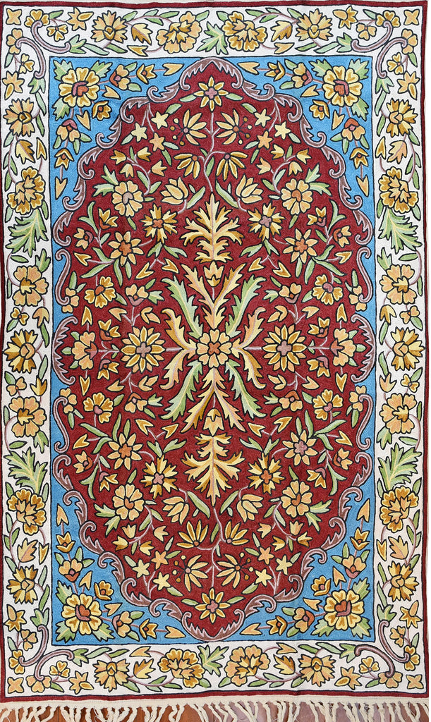Floral 2.5x4ft Red Blue Cream Handembroidered Wall Hanging Tapestry Rug Art Silk - KashmirDesigns