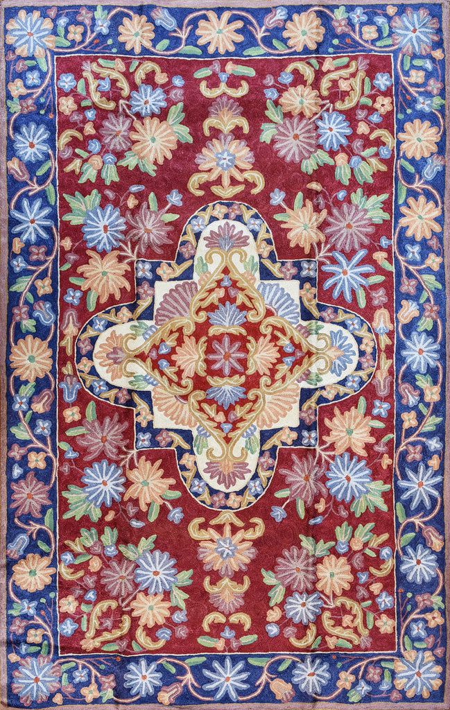 Floral 2.5x4ft Red Blue Handembroidered Wall Hanging Tapestry Rug  Art Silk - KashmirDesigns