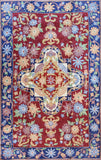 Floral 2.5x4ft Red Blue Handembroidered Wall Hanging Tapestry Rug  Art Silk