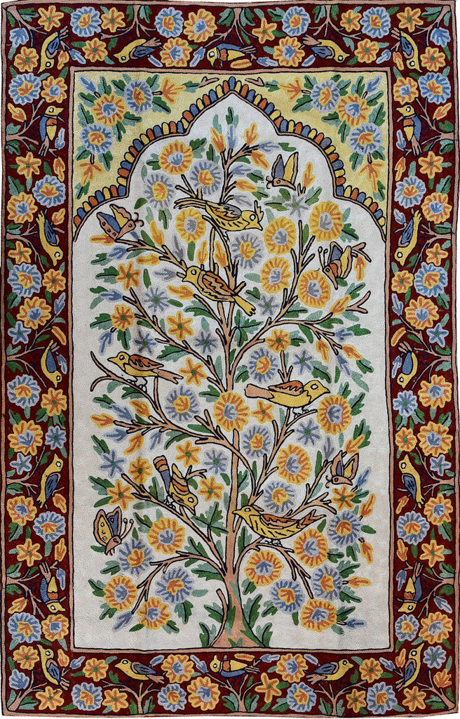 Floral 2.5x4ft Red III Tree of Life Birds Wall Hanging Tapestry Rug Art Silk - KashmirDesigns