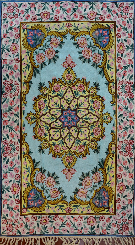 Floral 2.5x4ft Soft Turquoise Gold Handmade Wall Hanging Tapestry Rug Art Silk - KashmirDesigns