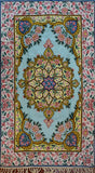 Floral 2.5x4ft Soft Turquoise Gold Handmade Wall Hanging Tapestry Rug Art Silk