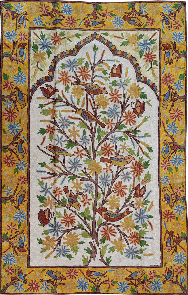 Floral 2.5x4ft Tree of Life Birds Bright Gold Wall Hanging Tapestry Rug Art Silk - KashmirDesigns