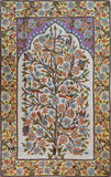 Floral 2.5x4ft Tree of Life Birds Cream Accent Wall Art Tapestry Rug Art Silk
