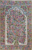 Floral 2.5x4ft Tree of Life Birds Cream Wall Hanging Tapestry Rug Art Silk
