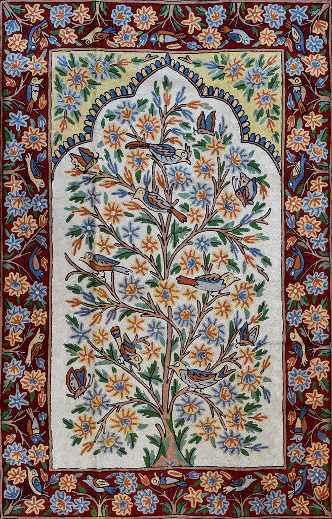 Floral 2.5x4ft Tree of Life Birds Decorative Wall Hanging Tapestry Rug Art Silk - KashmirDesigns