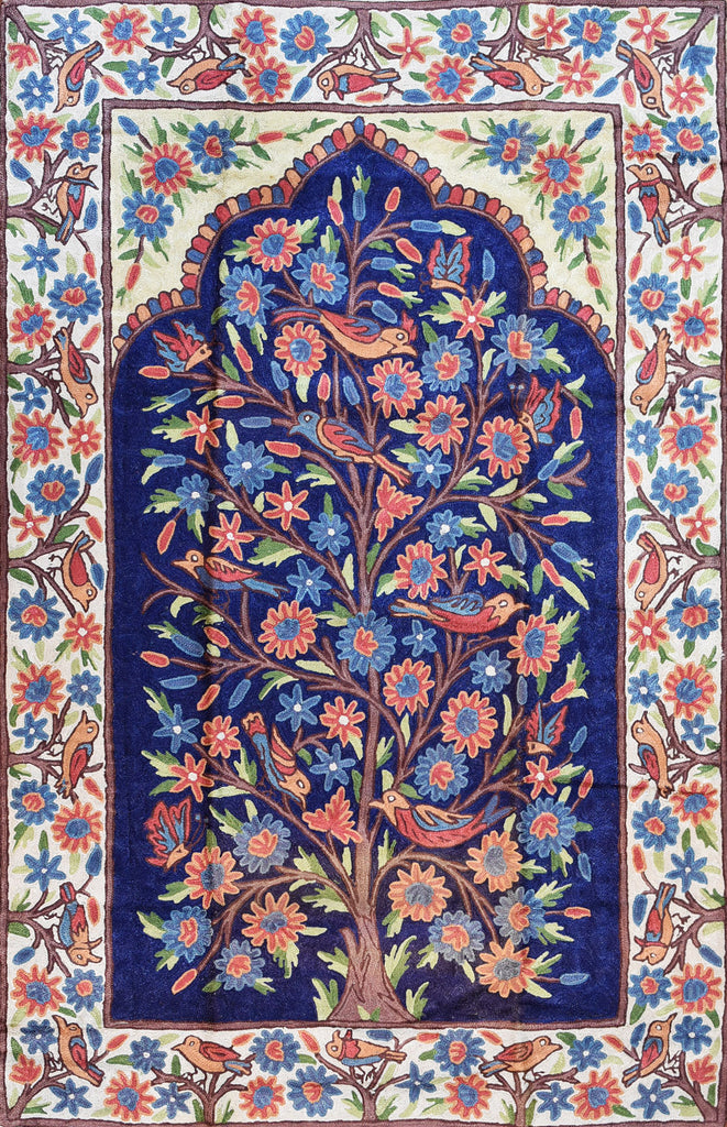 Floral 2.5x4ft Tree of Life Birds Navy Blue Wall Hanging Tapestry Rug Art Silk - KashmirDesigns