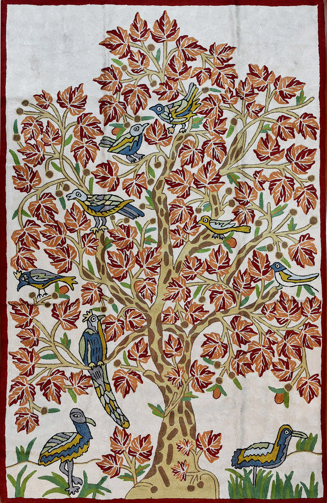 Floral 2.5x4ft Tree of Life Maple Cream Red Wall Hanging Tapestry Rug Art Silk - KashmirDesigns