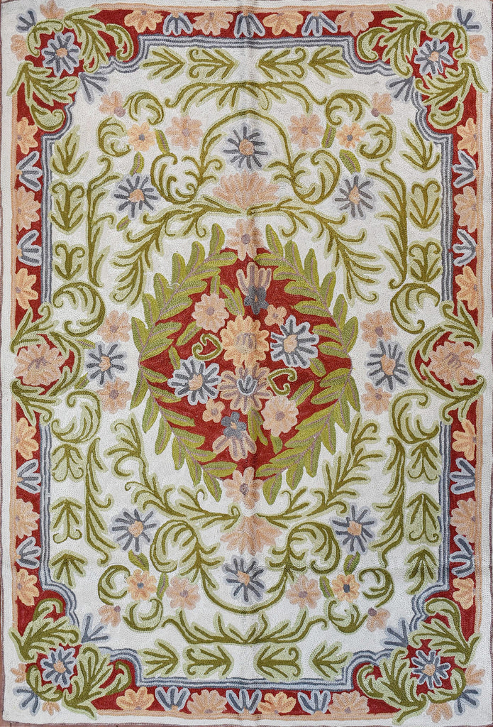 Floral 2ftx3ft Decorative Cream Green Accent Wall Hanging Tapestry Rug Art Silk - KashmirDesigns