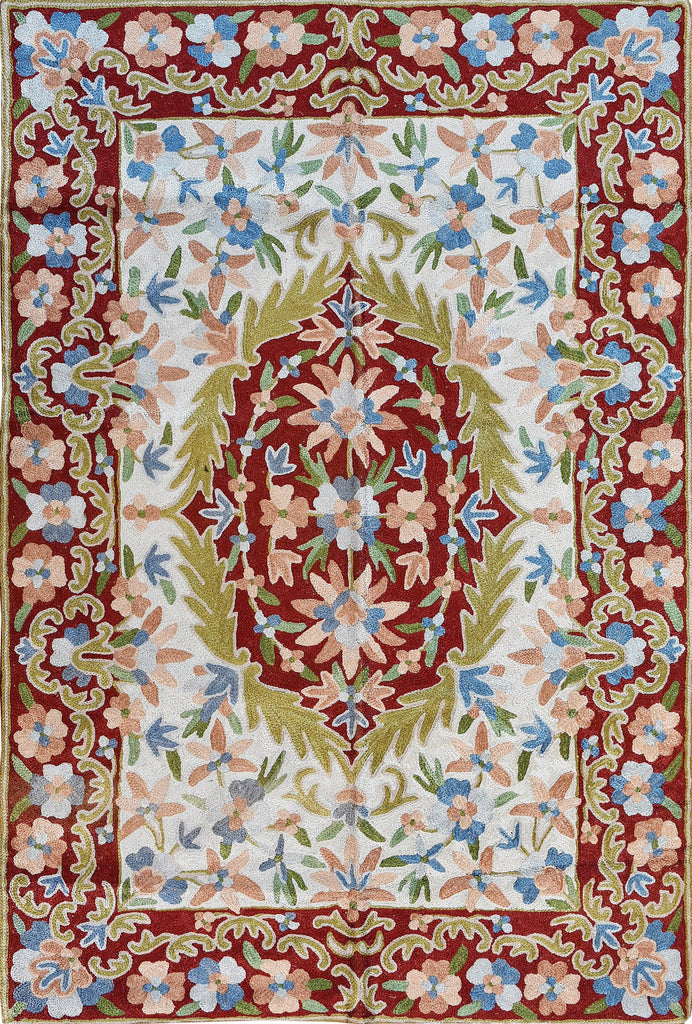 Floral 2ftx3ft Decorative Red Cream Handmade Wall Hanging Tapestry Rug Art Silk - KashmirDesigns