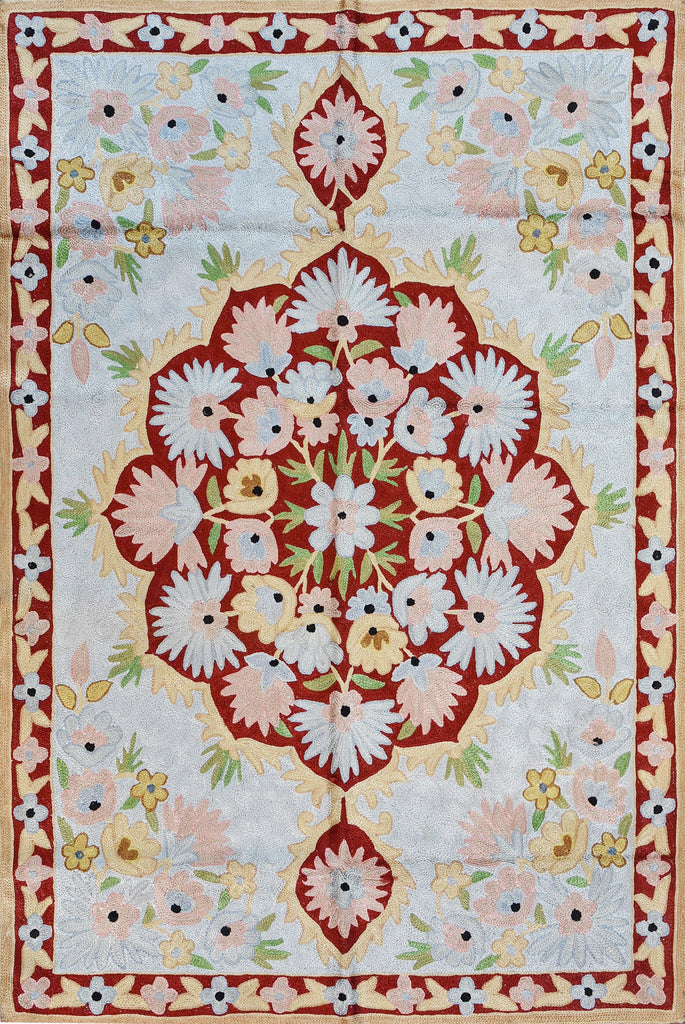 Floral 2ftx3ft Decorative Red Medallion Wall Hanging Tapestry Rug Art Silk - KashmirDesigns