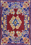 Floral 2ftx3ft Decorative Red Navy Handmade Wall Hanging Tapestry Rug Art Silk