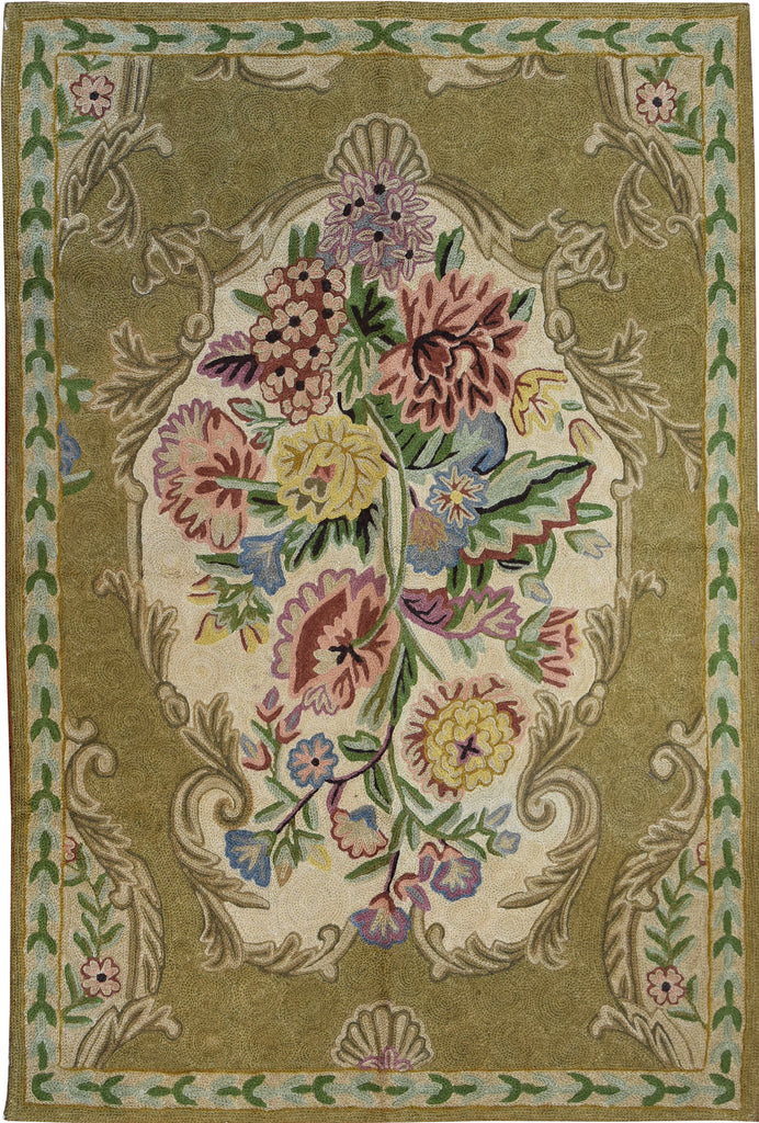 Floral 2ftx3ft Fawn French Art Deco Decorative Wall Hanging Tapestry Rug Wool - KashmirDesigns