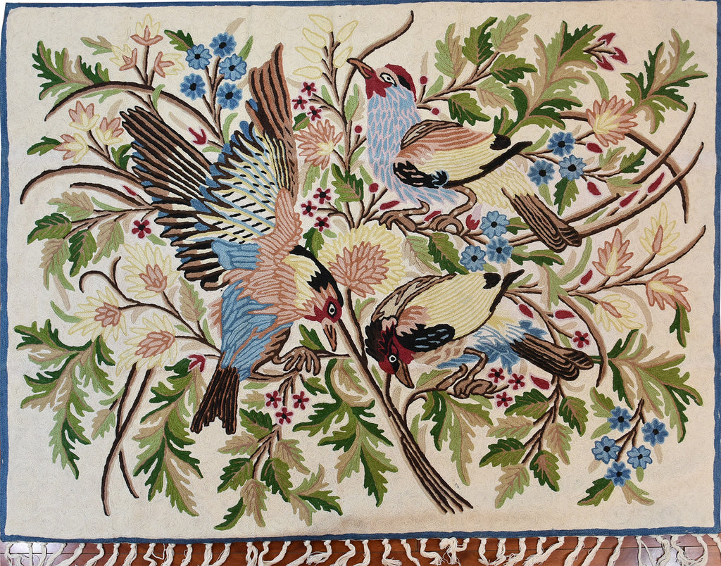 Floral 3ftx4ft Tree of Life Crown Birds Decorative I Wall Art Tapestry Rug Wool - KashmirDesigns