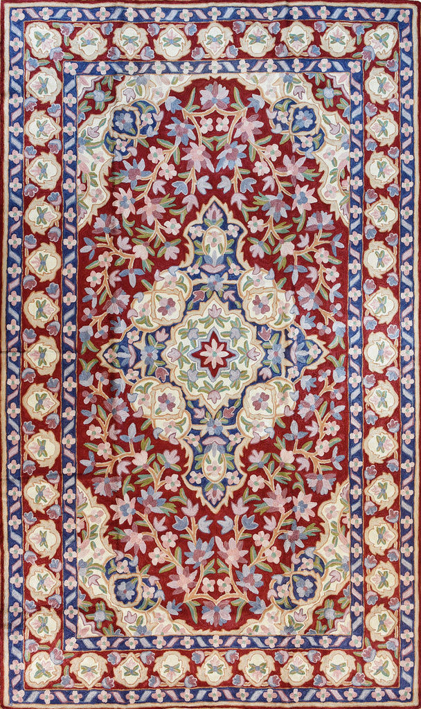 Floral 3ftx5ft Accent Handmade Red Blue II Wall Hanging Tapestry Rug Art Silk - KashmirDesigns