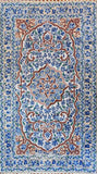 Floral 3ftx5ft Decorative Blue White Handmade Wall Hanging Tapestry Rug Art Silk