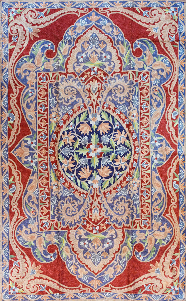 Floral 3ftx5ft Decorative Handmade Red Blue 3 Wall Hanging Tapestry Rug Art Silk - KashmirDesigns