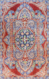 Floral 3ftx5ft Decorative Handmade Red Blue 3 Wall Hanging Tapestry Rug Art Silk