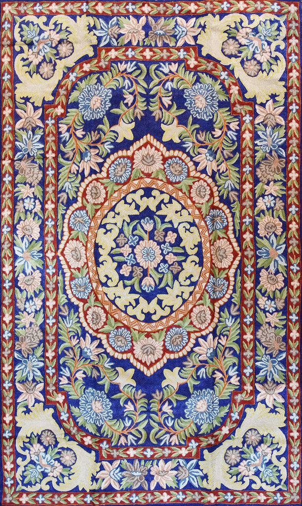 Floral 3ftx5ft Decorative Red Blue Accent Wall Hanging Tapestry Rug Art Silk - KashmirDesigns