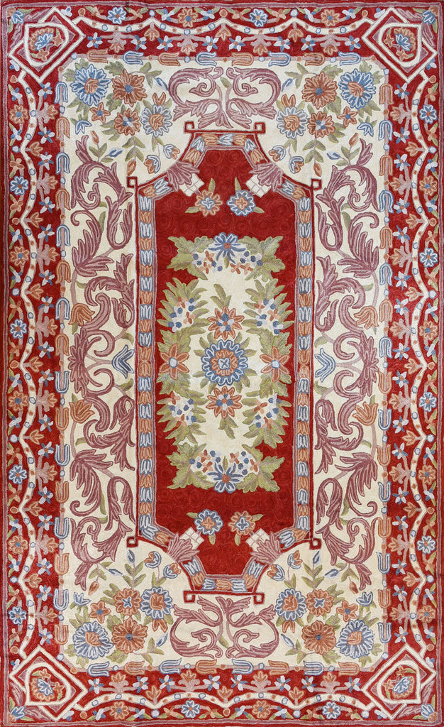 Floral 3ftx5ft Decorative Red Cream Handmade Wall Hanging Tapestry Rug Art Silk - KashmirDesigns