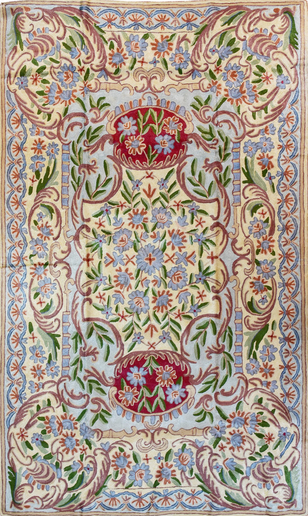 Floral 3ftx5ft Decorative Red Gold Handmade Wall Hanging Tapestry Rug Art Silk - KashmirDesigns