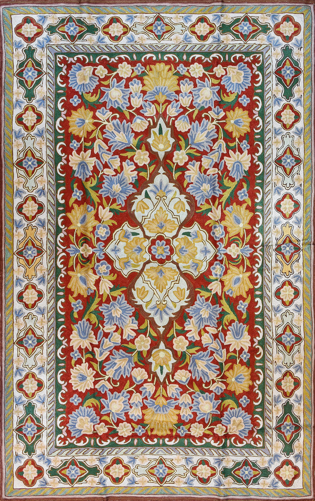Floral 3ftx5ft Decorative Red Handmade Wall Hanging Tapestry Rug Carpet Art Silk - KashmirDesigns