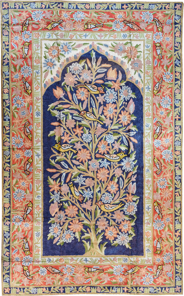 Floral 3ftx5ft Tree of Life Birds Decorative Wall Hanging Tapestry Rug Art Silk - KashmirDesigns
