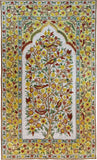 Floral 3ftx5ft Tree of Life Birds Yellow Gold Wall Hanging Tapestry Rug Art Silk