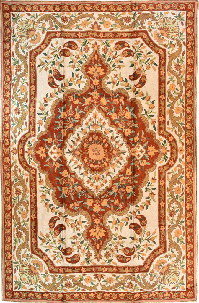 Floral 6ftx4ft Decorative Ivory Rust Wall Hanging Tapestry Rug Carpet Art Silk - KashmirDesigns