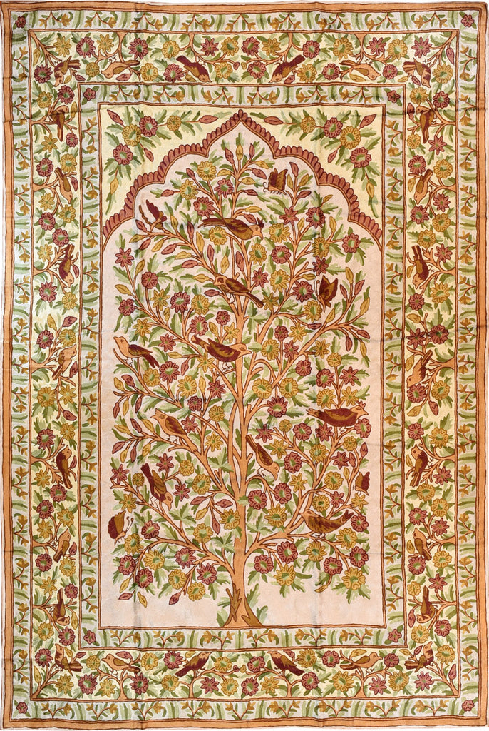 Floral 6ftx4ft Tree of Life Birds Cream Rust Wall Hanging Tapestry Rug Art Silk - KashmirDesigns