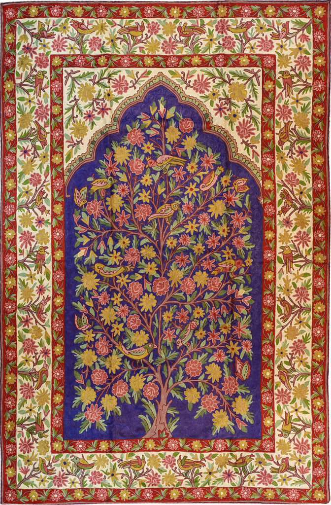 Floral 6ftx4ft Tree of Life Birds Navy Red Wall Hanging Tapestry Rug Art Silk - KashmirDesigns
