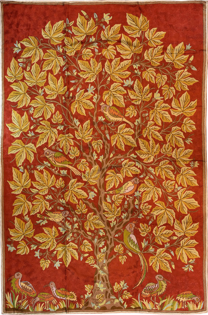 Floral 6ftx4ft Tree of Life Birds Red Gold Wall Hanging Tapestry Rug Art Silk - KashmirDesigns