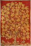 Floral 6ftx4ft Tree of Life Birds Red Gold Wall Hanging Tapestry Rug Art Silk