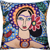 Bella Senorita Pillow Cover Necklace Collar Colorful Blue Handembroidered Wool 18x18