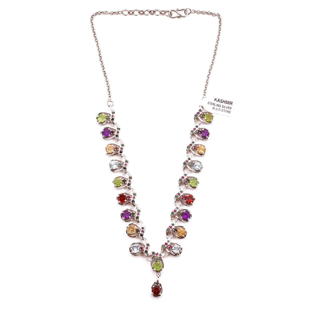 Garnet Peridot Amethyst Y Necklace Pendant Multi Collar 925 Sterling Silver Natural Gemstones Handcrafted