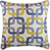 Gotcha Geometric Suzani Ivory Gray Gold Pillow Cover Handembroidered Wool 20x20